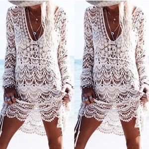 Other - Lace Boho Long Sleeve Crochet Beach Coverup